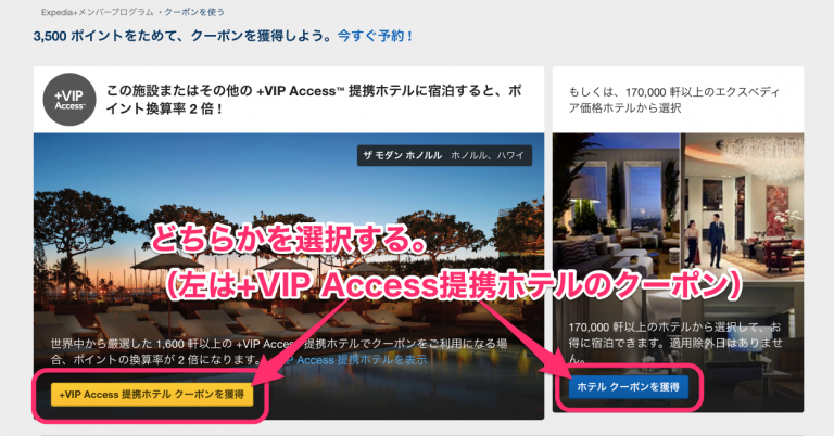 aExpedia+のホテルクーポン選択