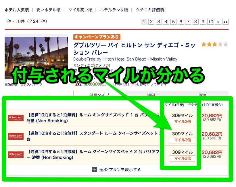 ホテルズドットコム(Hotels.com)専用サイトでマイル付与数を確認