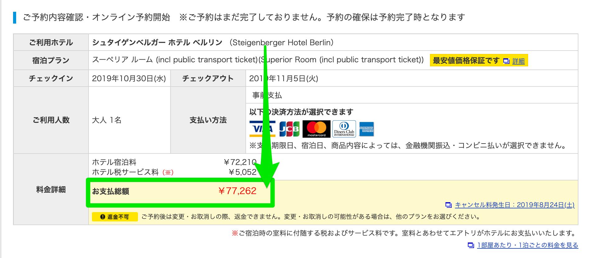 エアトリで海外航空券と海外ホテルを別々に予約した場合の海外ホテルの値段