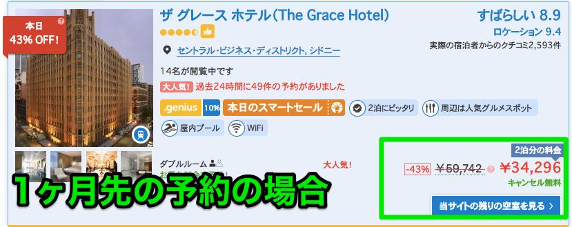 ブッキングドットコムで1ヶ月先のホテル予約の値引率を検証