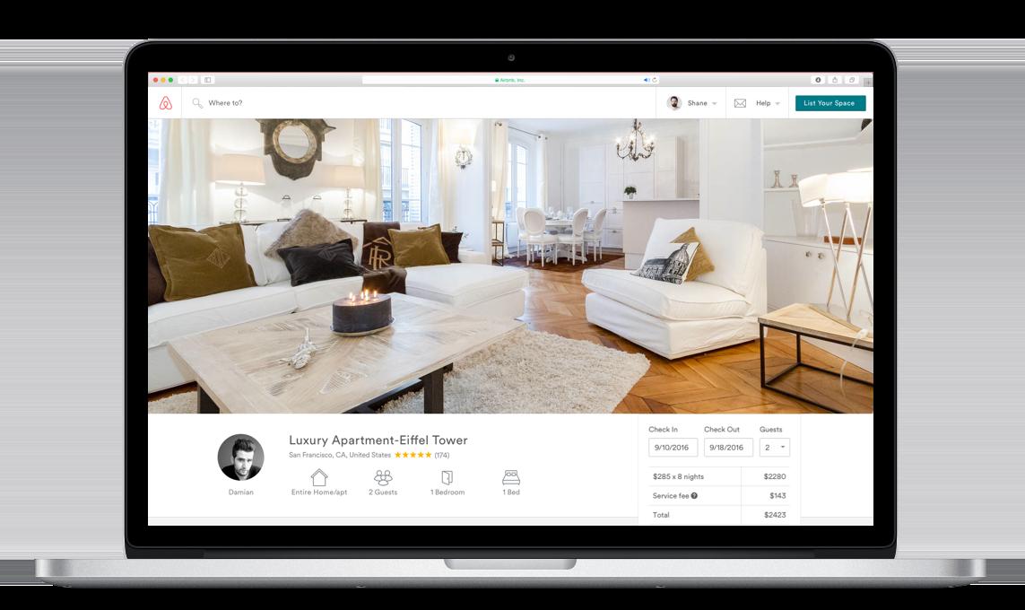 Airbnb(エアービーアンドビー)の部屋掲載ページ