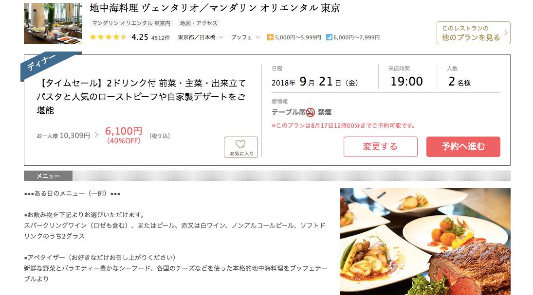 一休.comで選択したレストランの概要