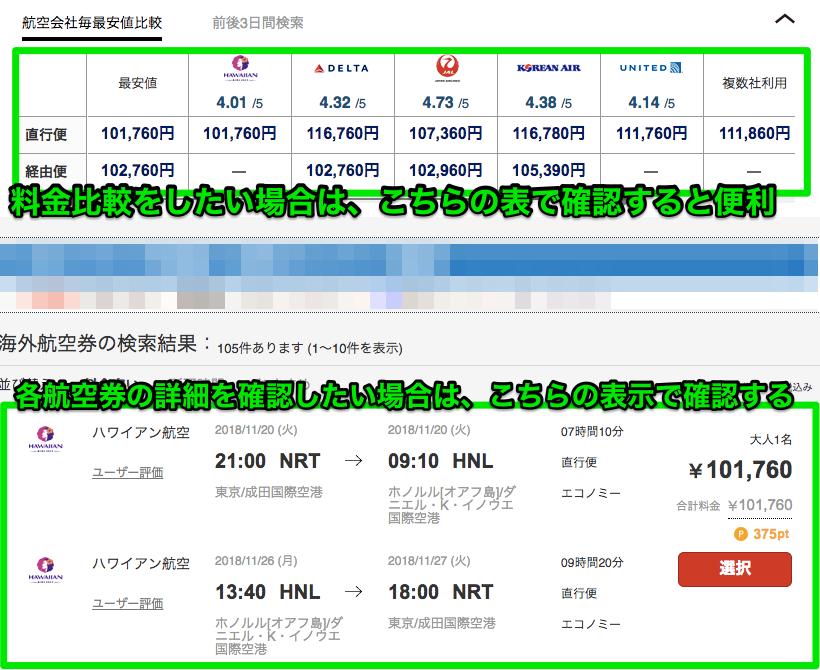 JTBで海外航空券予約の料金比較表