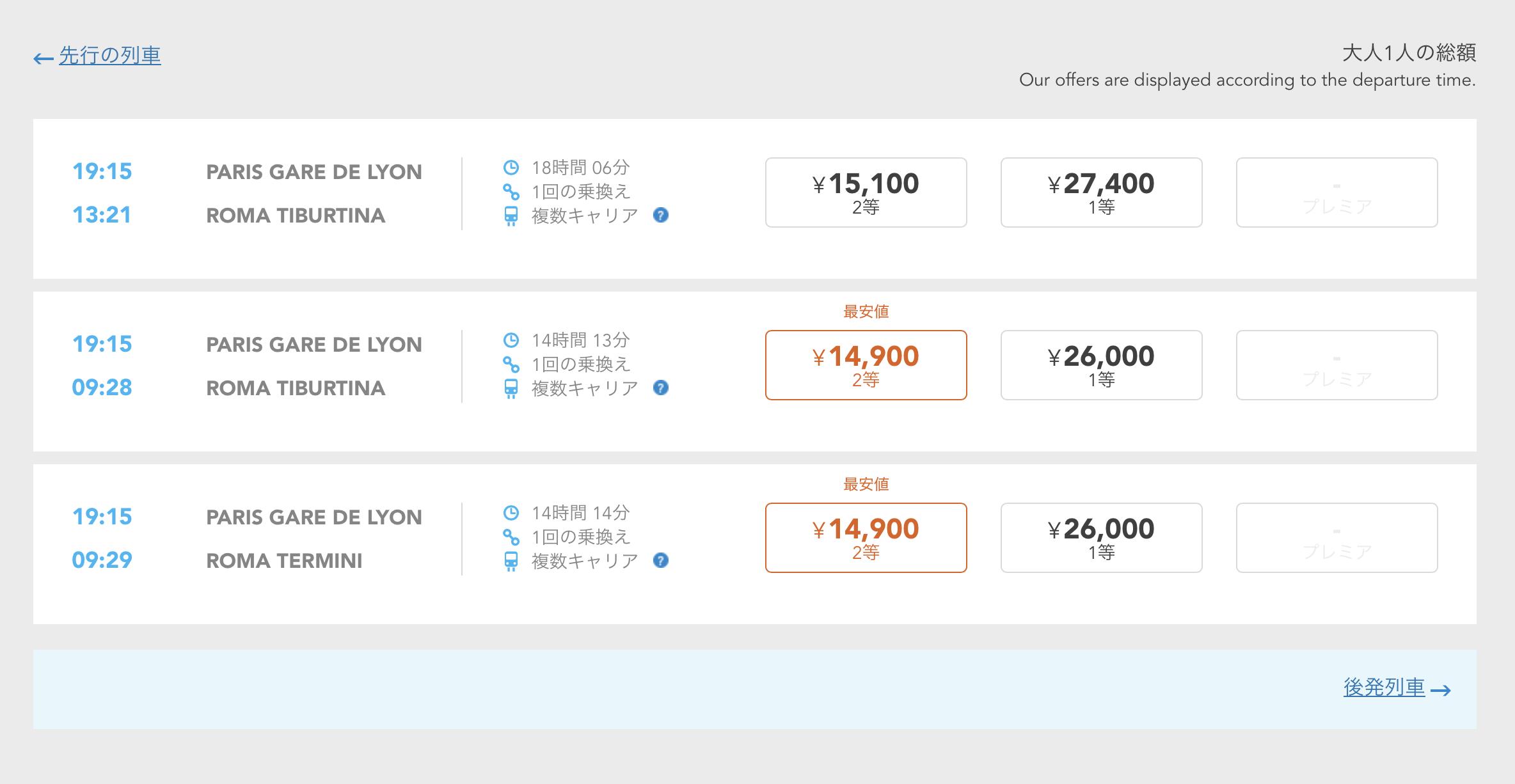 レイルヨーロッパの鉄道チケット