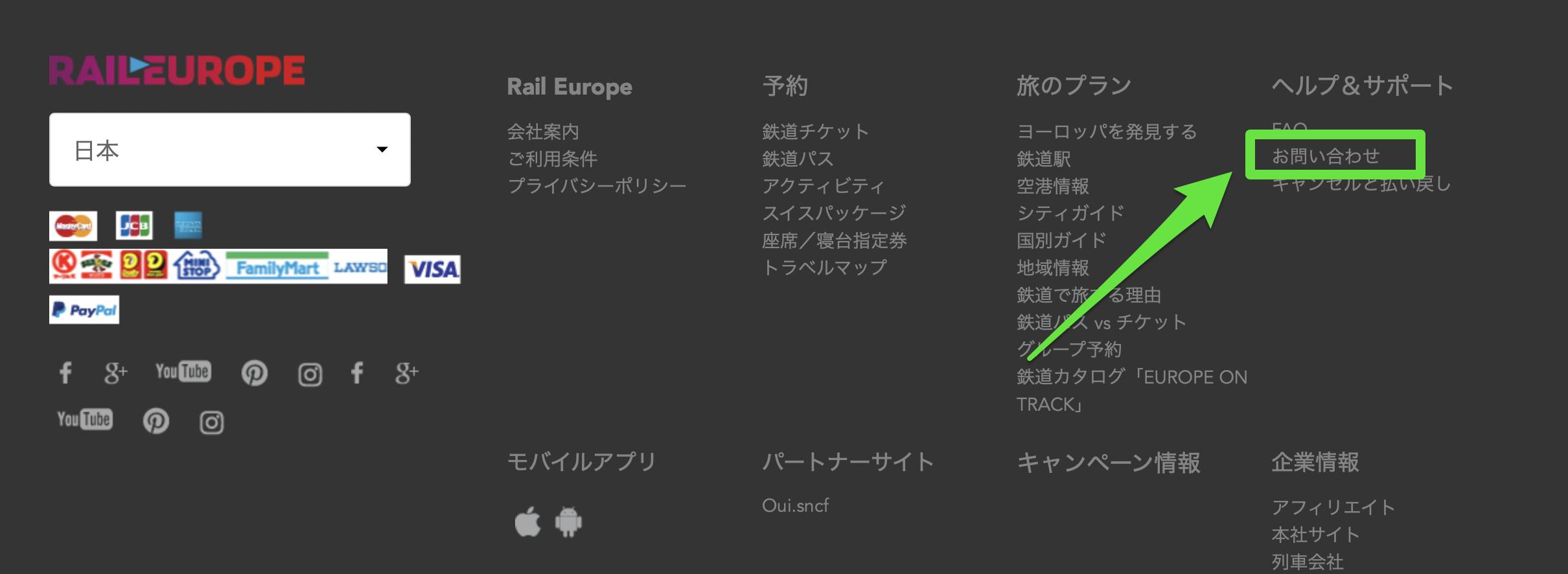 レイルヨーロッパの予約変更